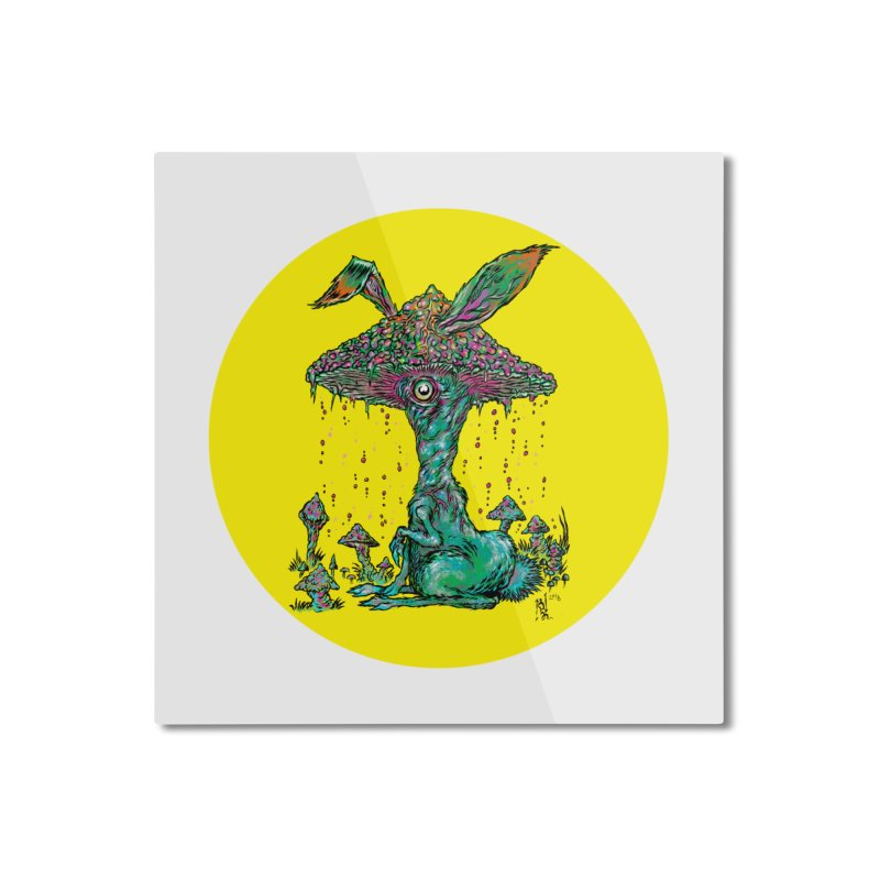 Fungal Bunny Home Mounted Aluminum Print by Nick the Hat