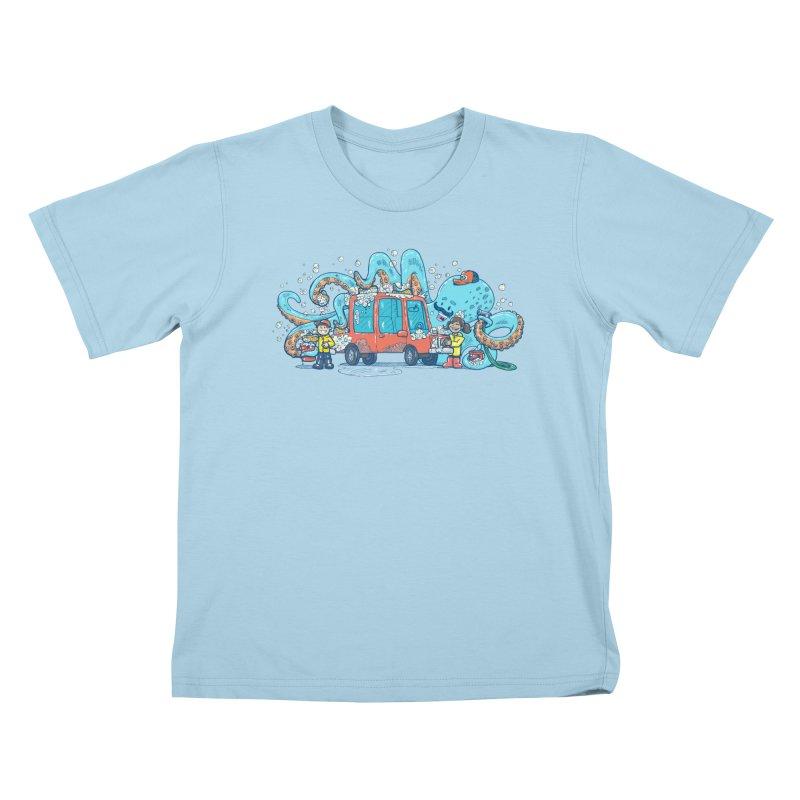 Octopus Carwash Kids T-Shirt by nickv47