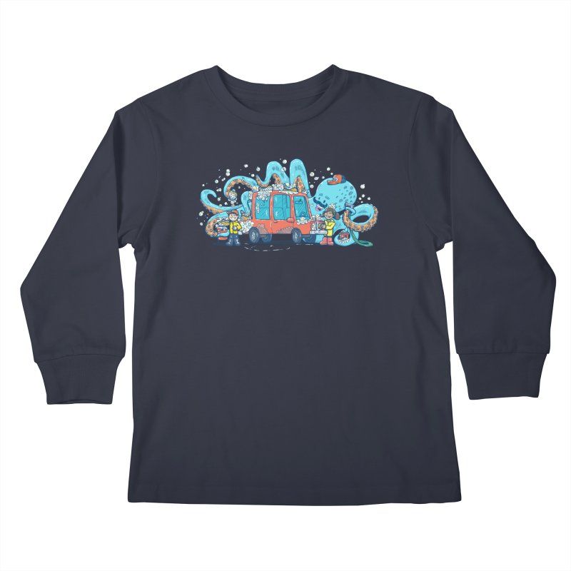 Octopus Carwash Kids Longsleeve T-Shirt by nickv47