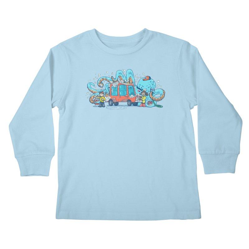 Octopus Carwash Kids Longsleeve T-Shirt by nickv47