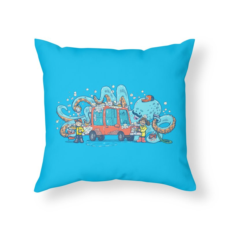 Octopus Carwash Home Throw Pillow by nickv47