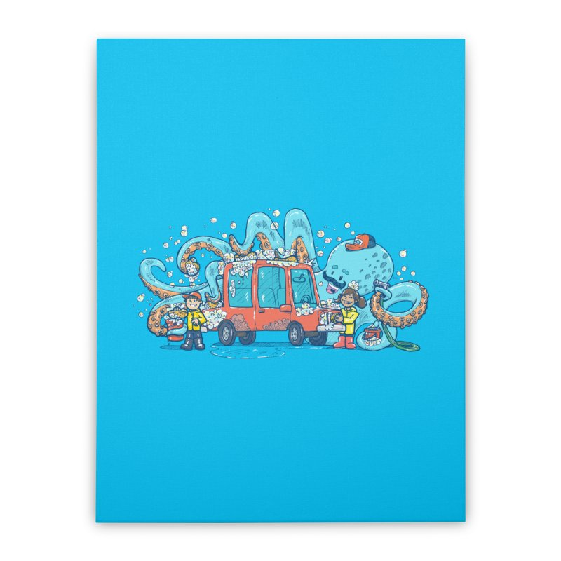 Octopus Carwash Home Stretched Canvas by nickv47