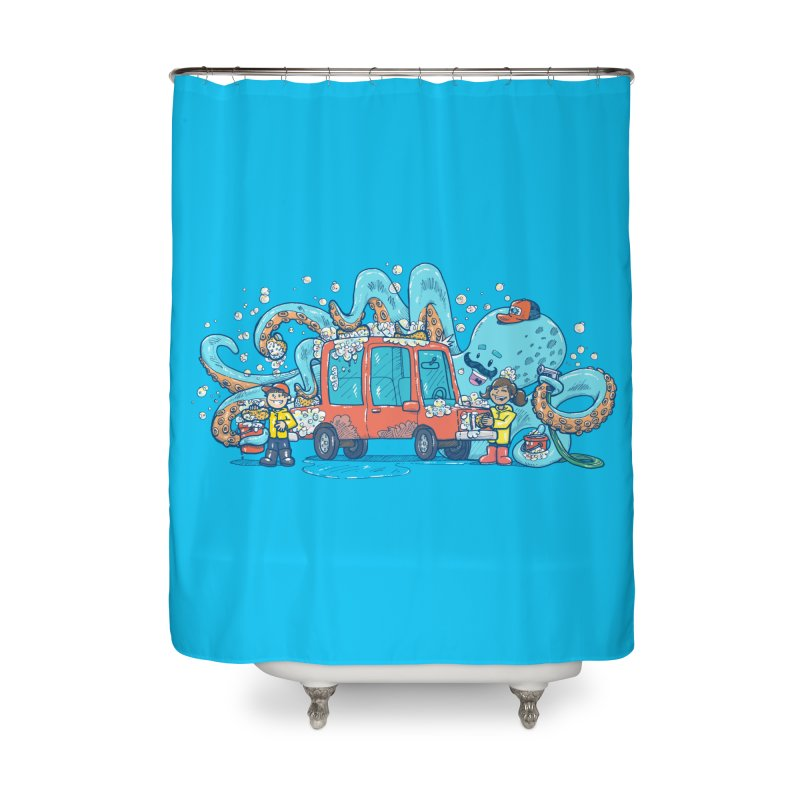 Octopus Carwash Home Shower Curtain by nickv47