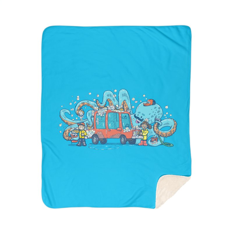 Octopus Carwash Home Sherpa Blanket Blanket by nickv47