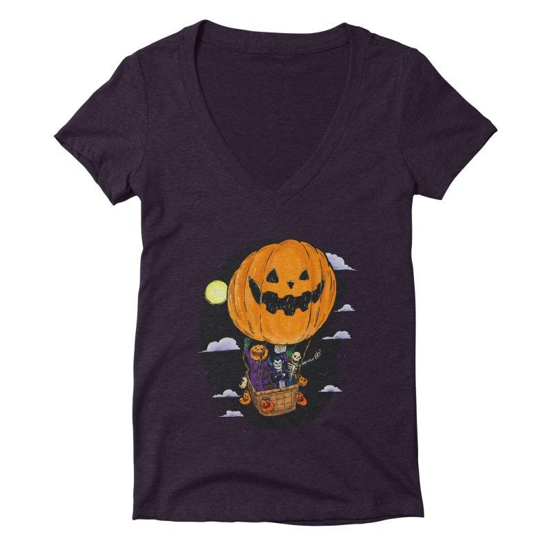 Pumpkin Hot Air Balloon Women's Deep V-Neck V-Neck by nickv47