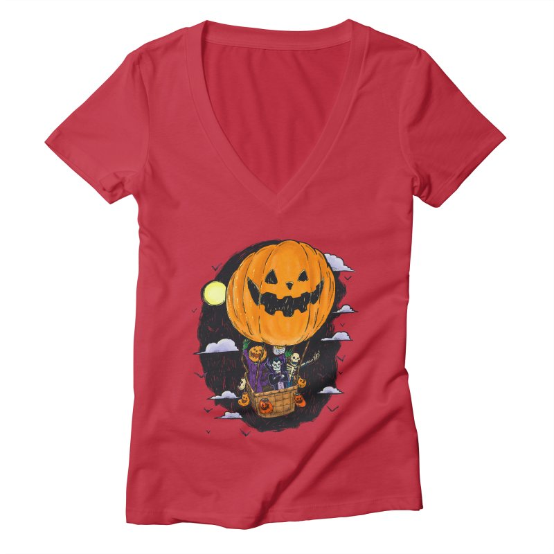 Pumpkin Hot Air Balloon Women's Deep V-Neck V-Neck by nickv47