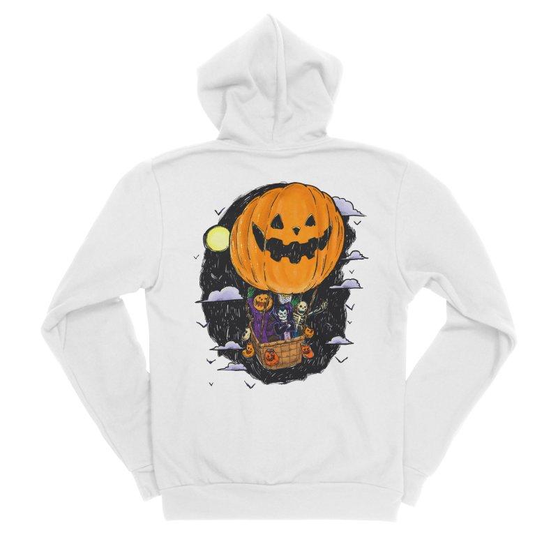 Pumpkin Hot Air Balloon Men's Sponge Fleece Zip-Up Hoody by nickv47
