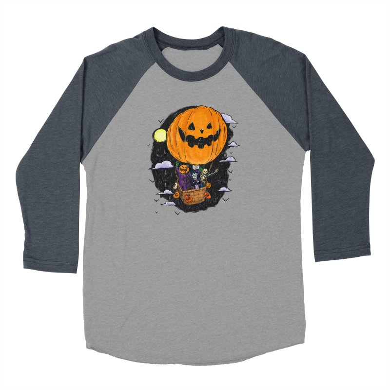 Pumpkin Hot Air Balloon Women's Baseball Triblend Longsleeve T-Shirt by nickv47