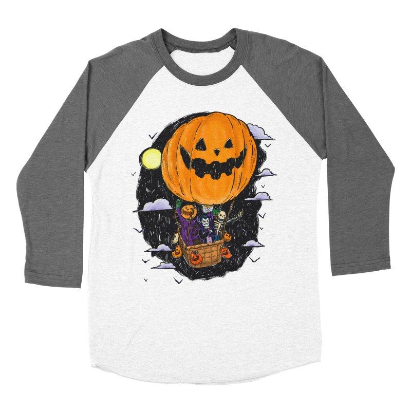Pumpkin Hot Air Balloon Women's Baseball Triblend Longsleeve T-Shirt by nickv47