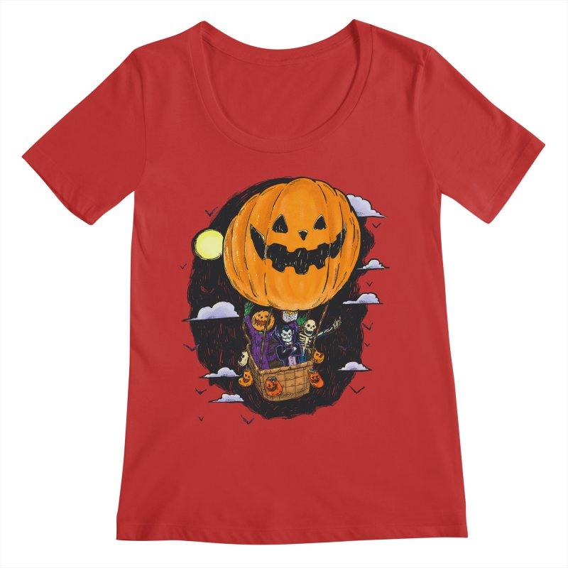 Pumpkin Hot Air Balloon Women's Regular Scoop Neck by nickv47