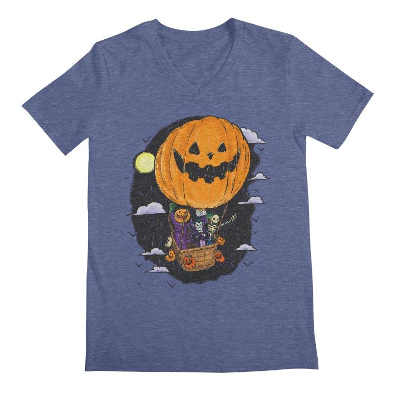 Pumpkin Hot Air Balloon Men's Regular V-Neck by nickv47
