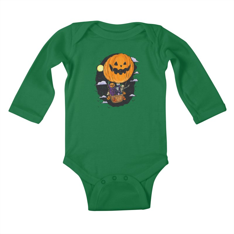 Pumpkin Hot Air Balloon Kids Baby Longsleeve Bodysuit by nickv47