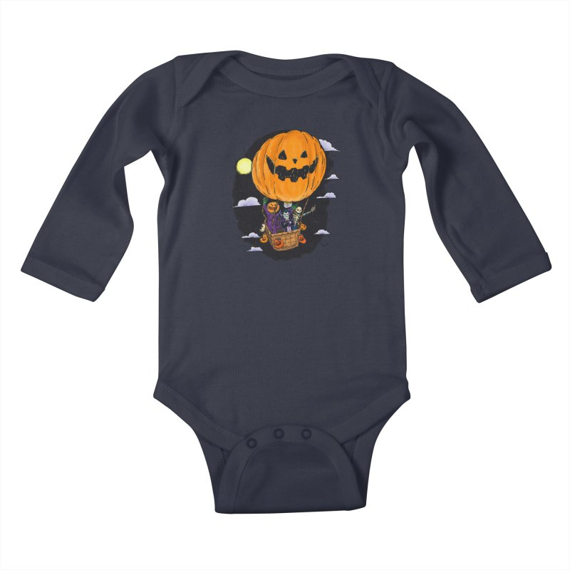 Pumpkin Hot Air Balloon Kids Baby Longsleeve Bodysuit by nickv47