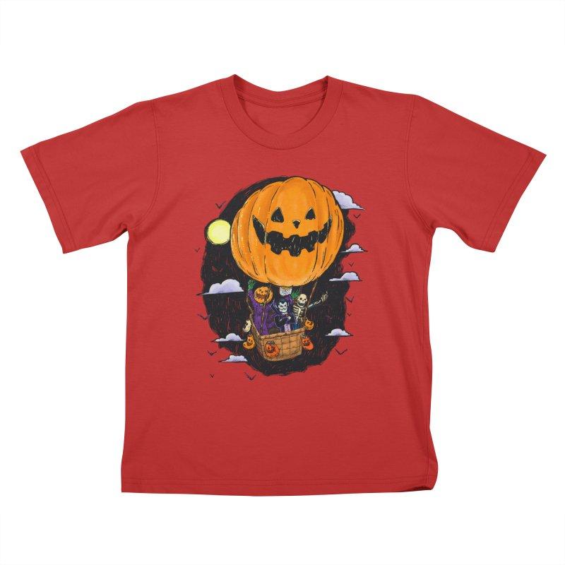 Pumpkin Hot Air Balloon Kids T-Shirt by nickv47