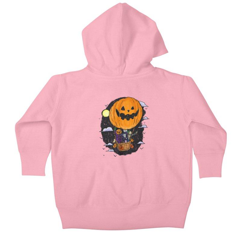 Pumpkin Hot Air Balloon Kids Baby Zip-Up Hoody by nickv47