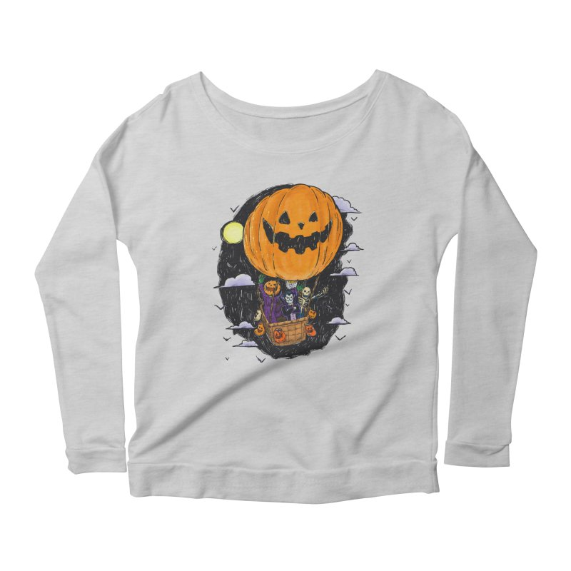 Pumpkin Hot Air Balloon Women's Scoop Neck Longsleeve T-Shirt by nickv47