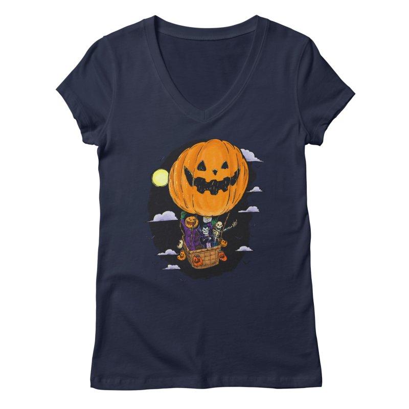 Pumpkin Hot Air Balloon Women's Regular V-Neck by nickv47
