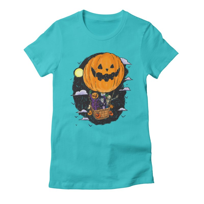Pumpkin Hot Air Balloon Women's Fitted T-Shirt by nickv47