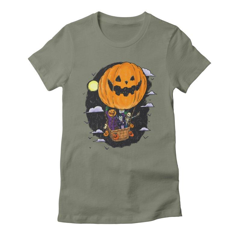 Pumpkin Hot Air Balloon Women's Fitted T-Shirt by nickv47