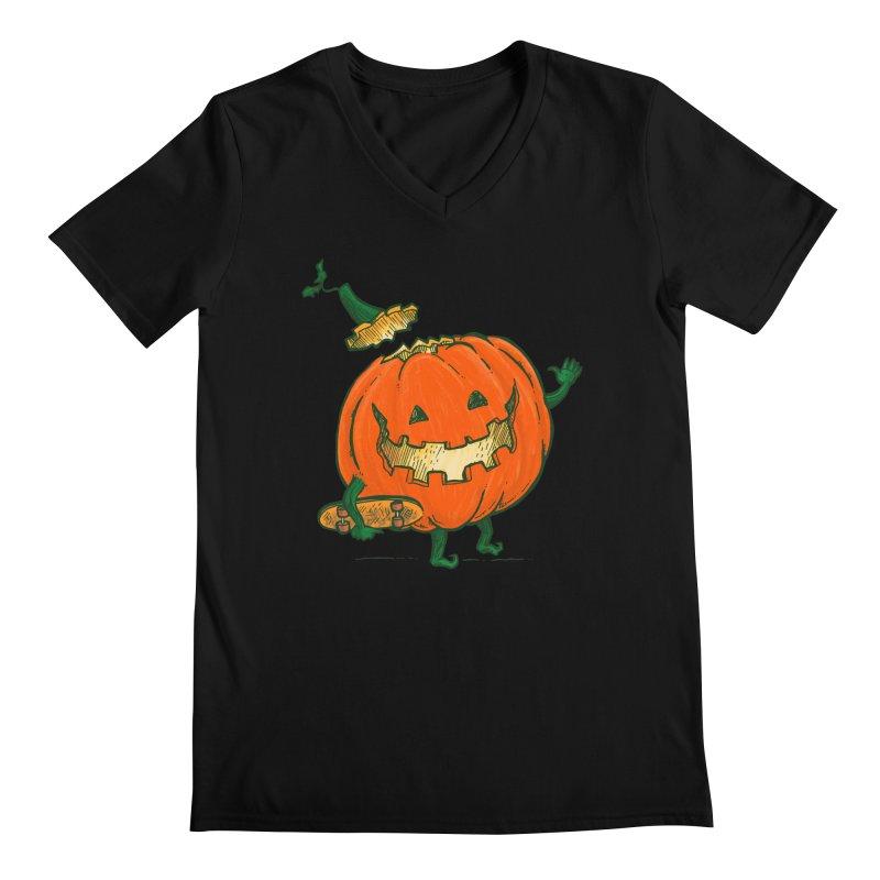Skatedeck Pumpkin Men's Regular V-Neck by nickv47