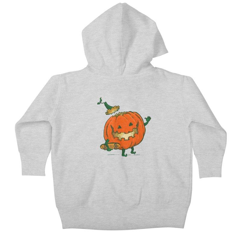 Skatedeck Pumpkin Kids Baby Zip-Up Hoody by nickv47