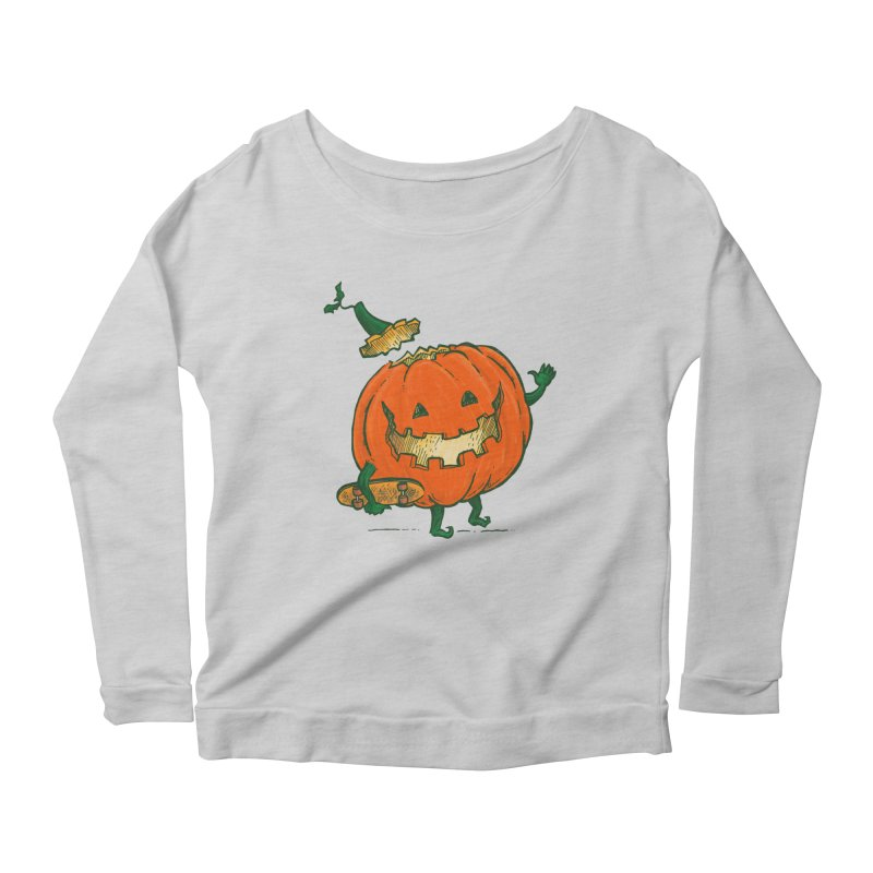 Skatedeck Pumpkin Women's Scoop Neck Longsleeve T-Shirt by nickv47