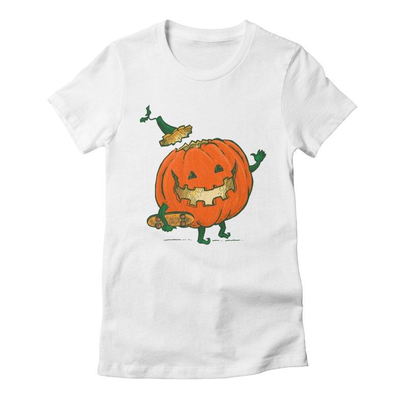 Skatedeck Pumpkin Women's Fitted T-Shirt by nickv47