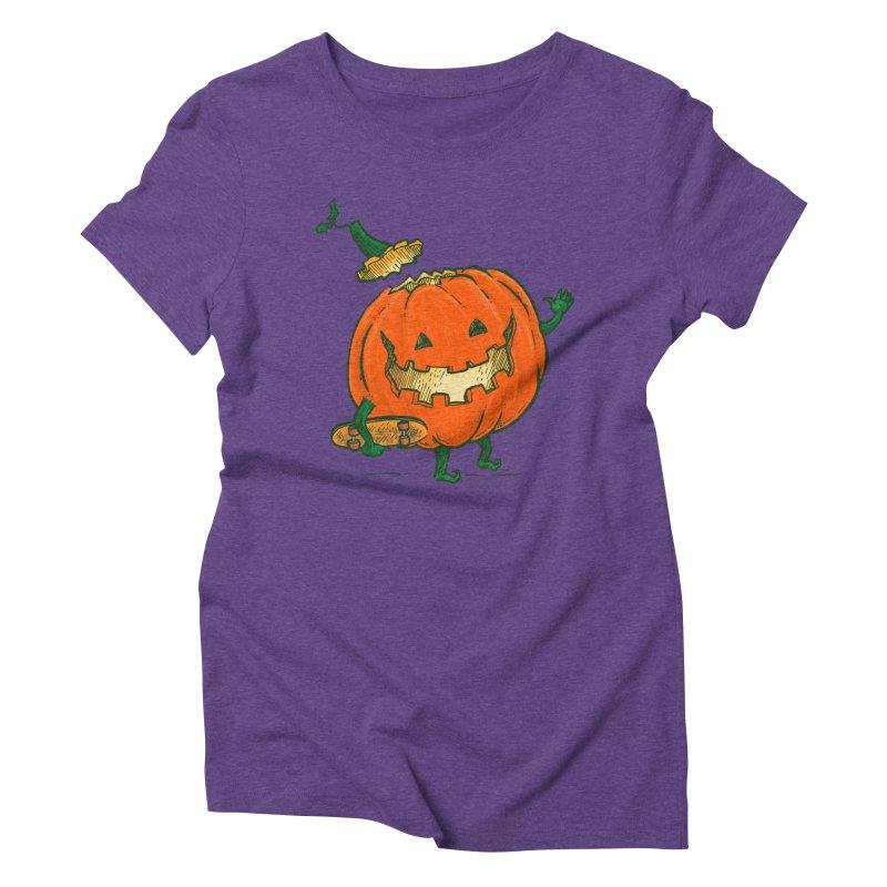 Skatedeck Pumpkin Women's Triblend T-Shirt by nickv47