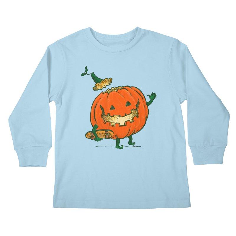 Skatedeck Pumpkin Kids Longsleeve T-Shirt by nickv47