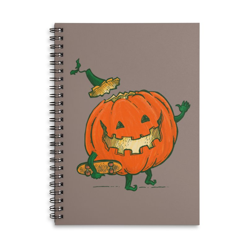 Skatedeck Pumpkin Accessories Lined Spiral Notebook by nickv47
