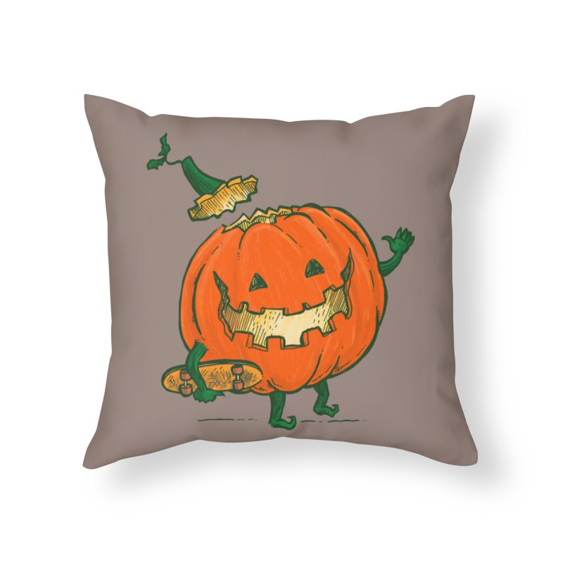 Skatedeck Pumpkin Home Throw Pillow by nickv47