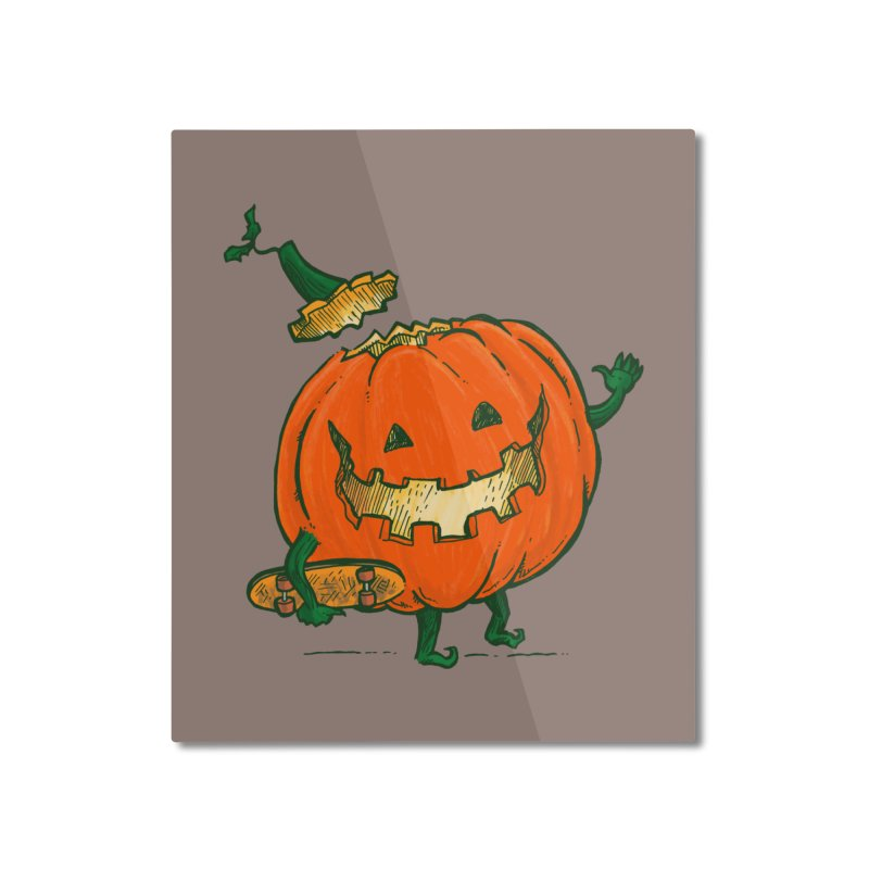 Skatedeck Pumpkin Home Mounted Aluminum Print by nickv47