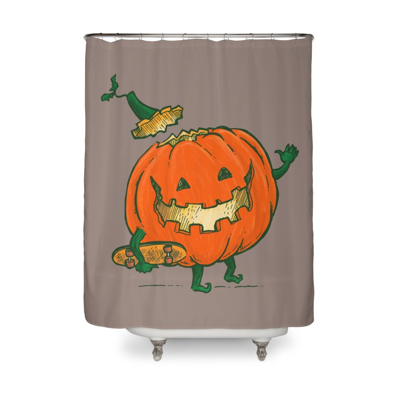 Skatedeck Pumpkin Home Shower Curtain by nickv47