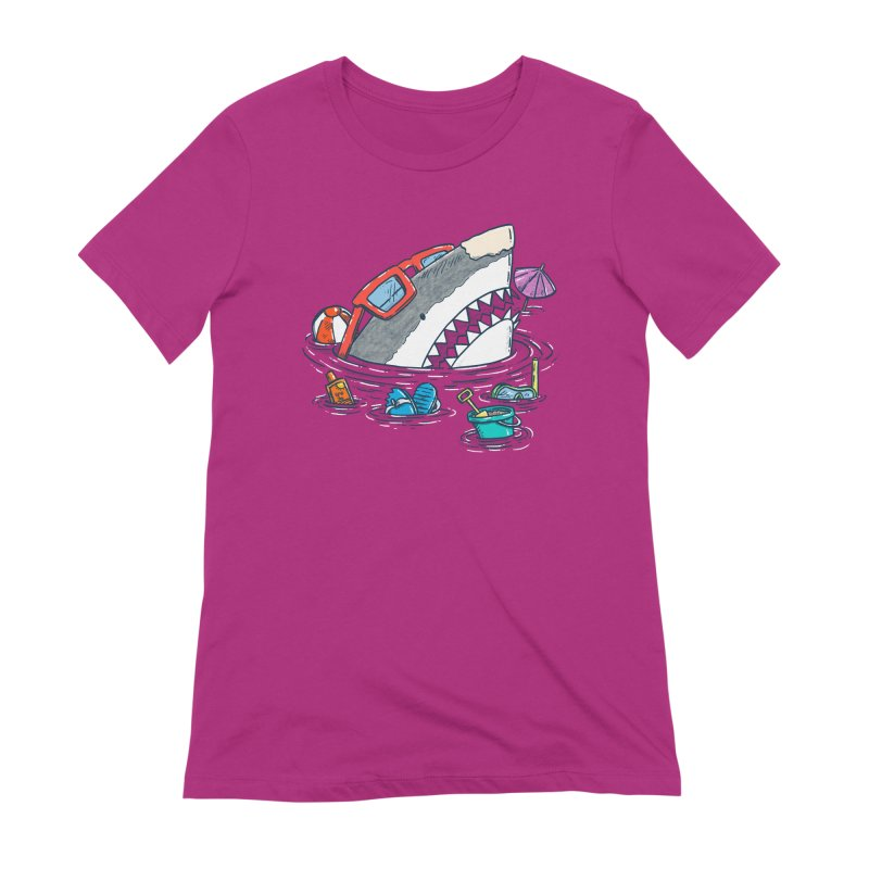 Beach Party Shark Women's Extra Soft T-Shirt by nickv47