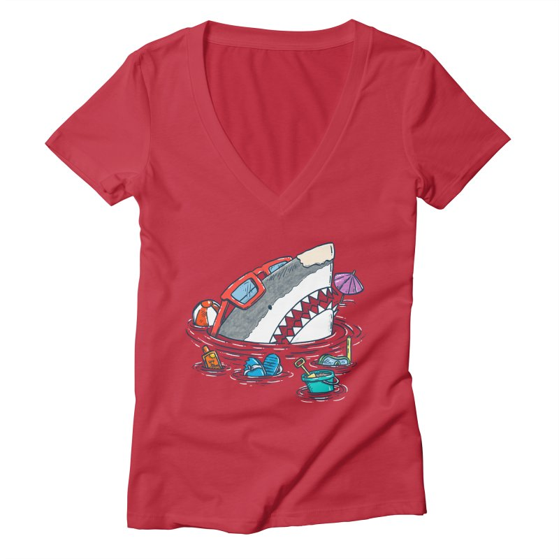 Beach Party Shark Women's Deep V-Neck V-Neck by nickv47