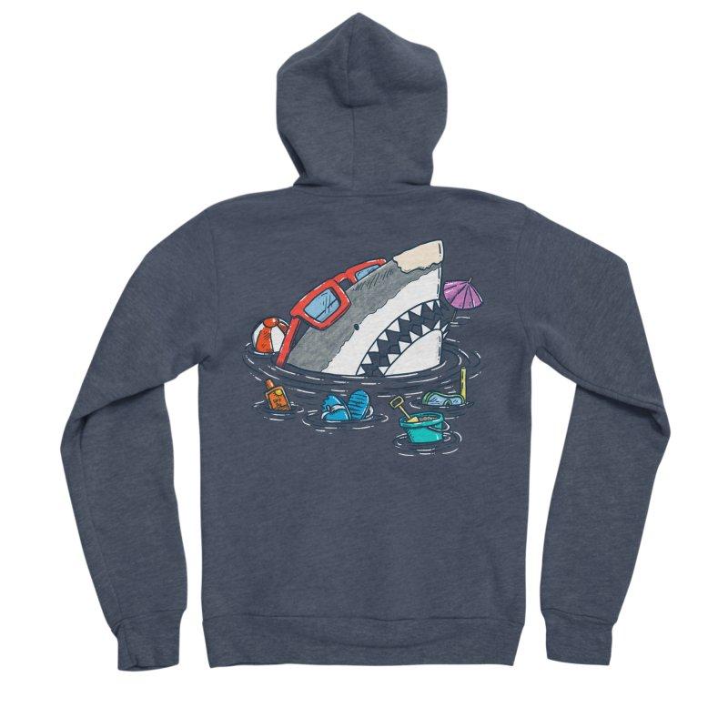Beach Party Shark Men's Sponge Fleece Zip-Up Hoody by nickv47