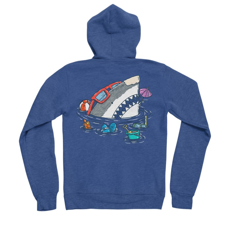 Beach Party Shark Women's Sponge Fleece Zip-Up Hoody by nickv47