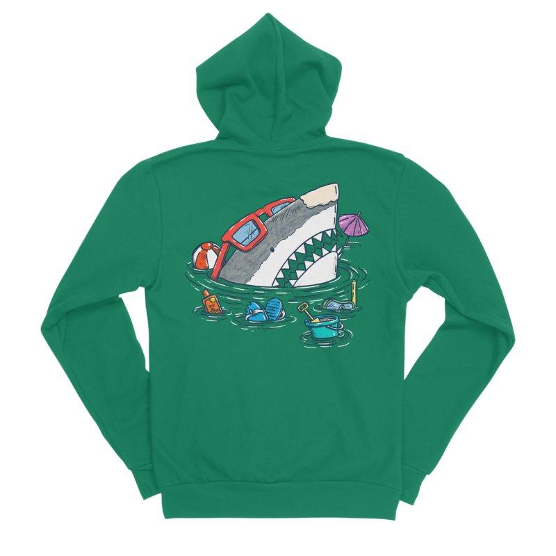 Beach Party Shark Women's Sponge Fleece Zip-Up Hoody by nickv47