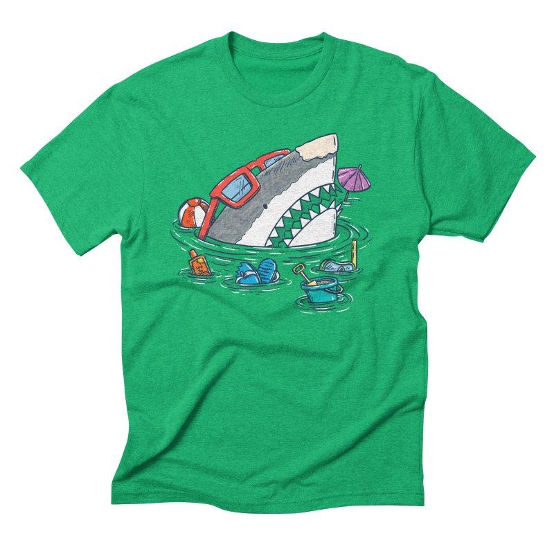 Beach Party Shark Men's Triblend T-Shirt by nickv47