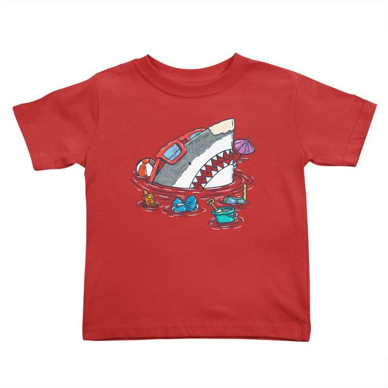 Beach Party Shark Kids Toddler T-Shirt by nickv47