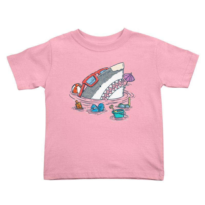 Beach Party Shark Kids Toddler T-Shirt by nickv47