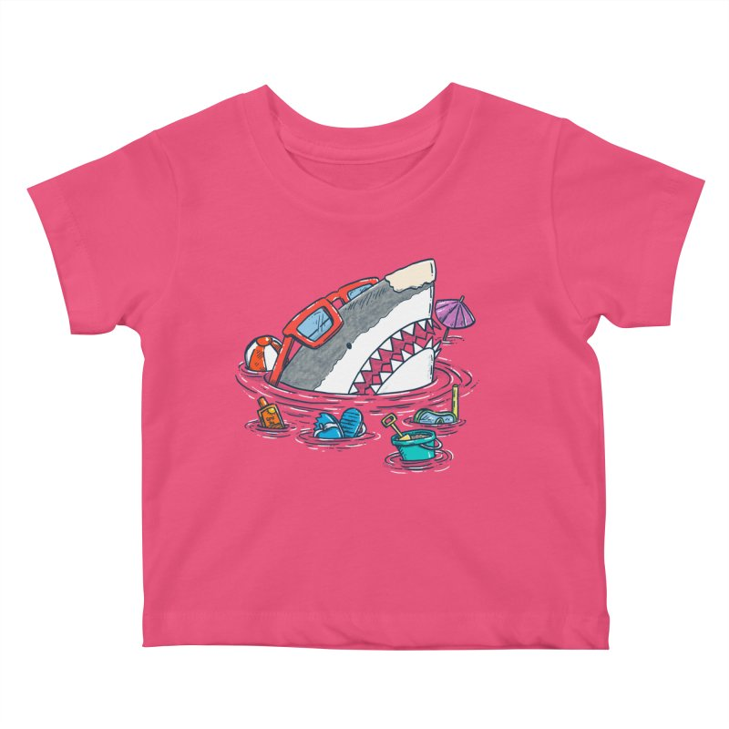 Beach Party Shark Kids Baby T-Shirt by nickv47