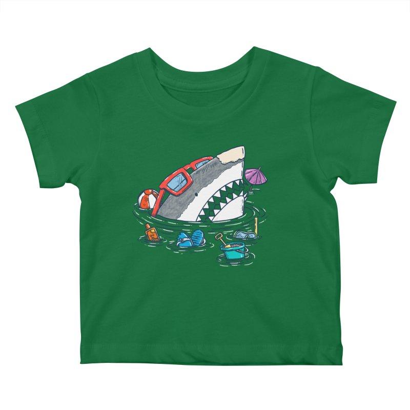 Beach Party Shark Kids Baby T-Shirt by nickv47