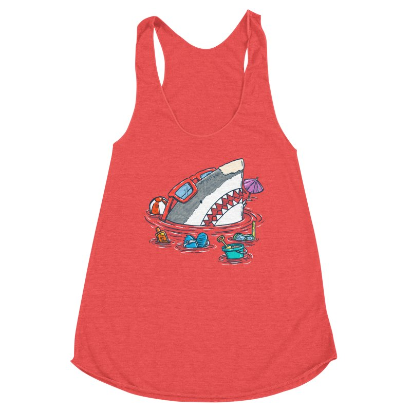 Beach Party Shark Women's Racerback Triblend Tank by nickv47