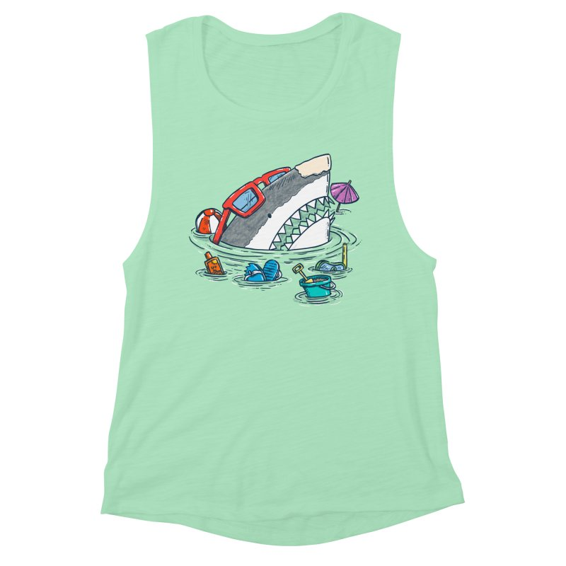 Beach Party Shark Women's Muscle Tank by nickv47