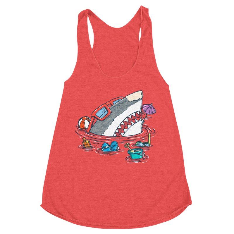 Beach Party Shark Women's Racerback Triblend Tank by nickv47