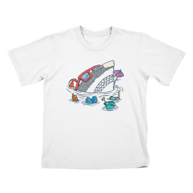 Beach Party Shark Kids T-Shirt by nickv47