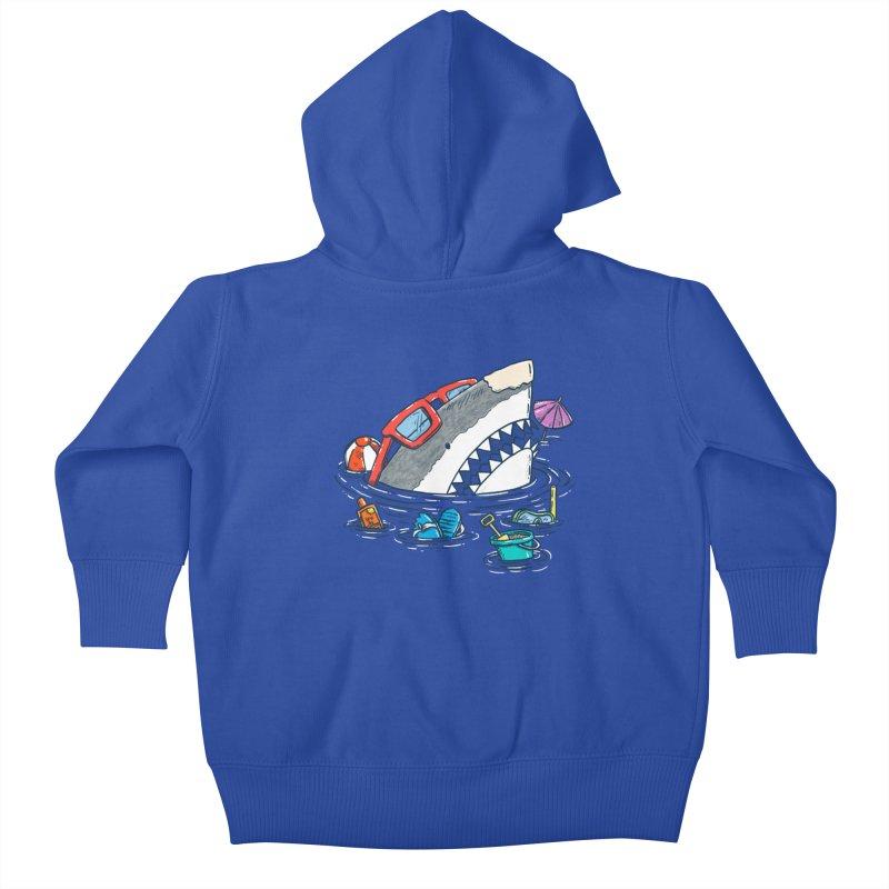 Beach Party Shark Kids Baby Zip-Up Hoody by nickv47