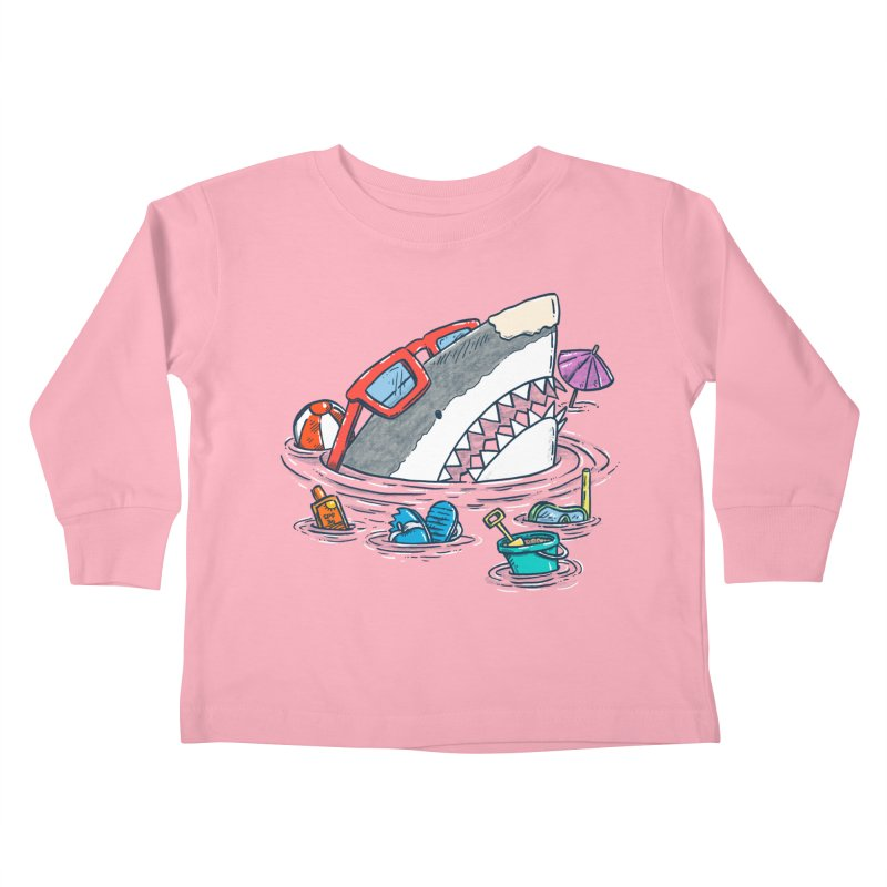 Beach Party Shark Kids Toddler Longsleeve T-Shirt by nickv47
