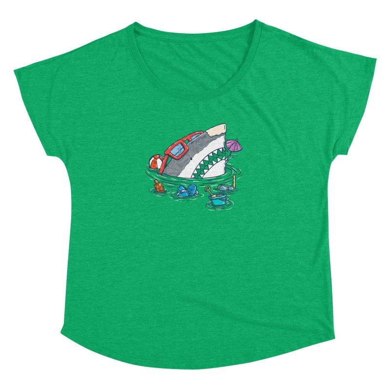 Beach Party Shark Women's Dolman Scoop Neck by nickv47